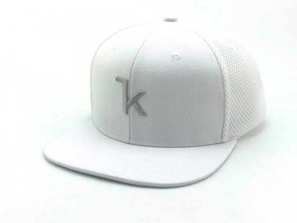 Keel Snapback Cap weiss/grau mit flachem Schirm Mesh