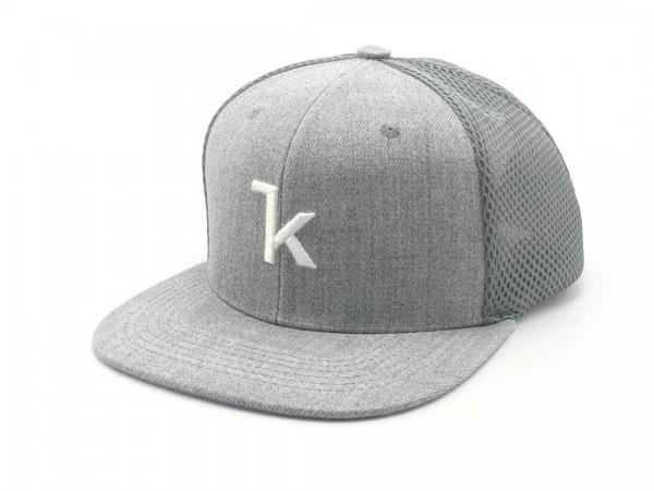 Keel Snapback Cap grau/grau mit flachem Schirm Mesh